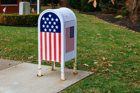 Home office American flag Metal Mailbox in garden