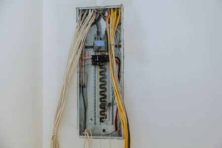electrical box contains many terminals, relays, wires and switches. installing components in electrical shield Stok Fotoğraf