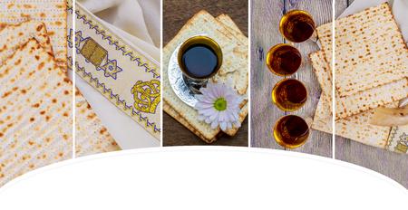 Wein und Matzoh Jüdischer Feiertag, Feiertagssymbol jüdisches Passahfest-Brot Pessach Matzo Pessachwein Standard-Bild - 92769135