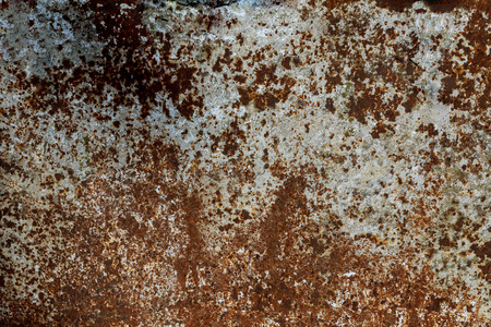 Multicolored background: rusty metal surface and damaged metal background