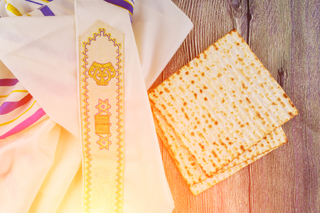 Jewish holiday Jewish passover Still-life with wine and matzoh jewish passover bread Stock Photo