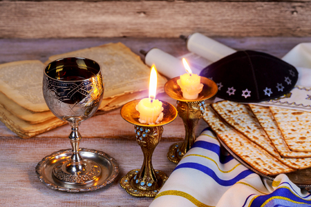 Shabbat Shalom - Traditional Jewish Sabbath ritual challah bread,