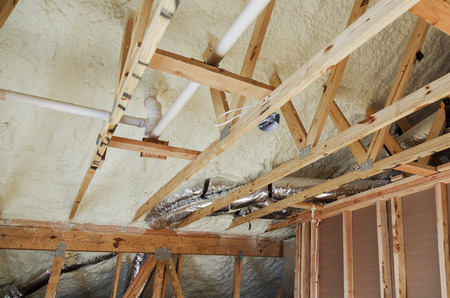 Insulation of attic with fiberglass cold barrier and insulation material insulation attic heating and cooling