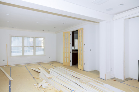 Interior construction of housing Construction building industry new home construction interior Building construction gypsum plaster walls Stock Photo