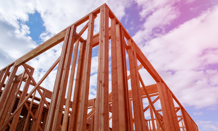 New residential construction home framing. construction home framing