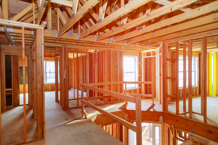 New home construction with wooden house frame building wooden building wooden construction