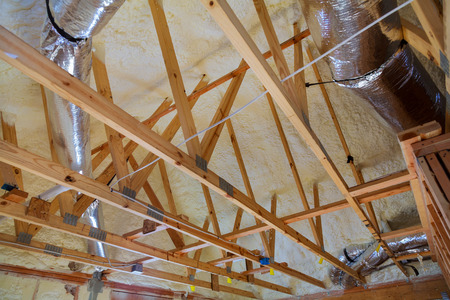 attic renovation and thermal insulation attic heating and cooling Stock fotó