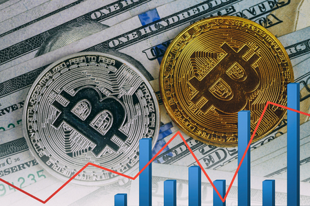 bitcoin bubble risk of collapse concept Bitcoins for finance and banking Stock Photo