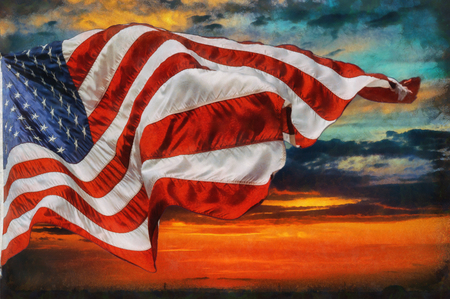 American flag flying, flag USA over beautiful Sunset sunrise with clouds, in sky sunrise clouds 스톡 콘텐츠