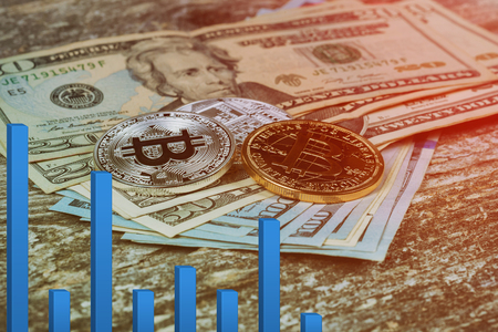 bitcoin bubble risk of collapse concept Bitcoins for finance and banking exchange concept US dollar bitcoins Banco de Imagens