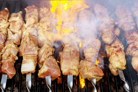 Juicy appetizing fresh meat shish kebab roasted kebabs on the BBQ Stock Photo - 99268561