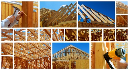 New residential construction home framing with roof view construction home framing photo collage Stock Photo