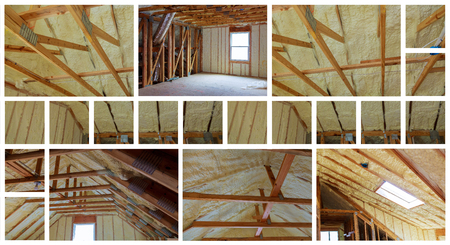 Insulation of attic with fiberglass cold barrier and insulation material thermal insulation attic photo collage Stock Photo - 99277178