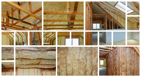 Heat isolation in a new prefabricated house with mineral wool and wood. photo collage Stock Photo