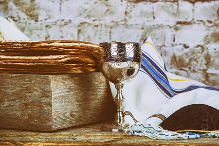 Pesah celebration concept Jewish Matzah bread with wine. Passover holiday concept