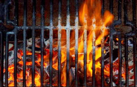 bbq grill flame, hot burning Charcoal Barbecue Empty Hot, outdoors