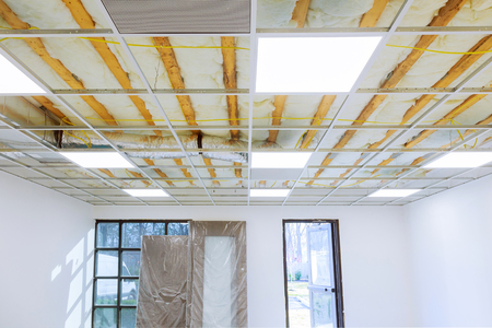 Suspended ceiling structure, before installation of plasterboard Banque d'images