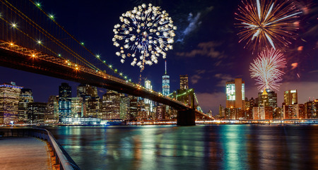 Fireworks over Manhattan, New York City skyline and Brooklyn Bridge