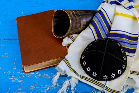 Prayer Shawl Tallit and Shofar horn rosh hashanah jewish religious symbol