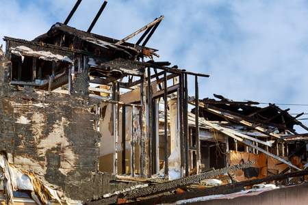 Village Dramatic landscape house after the fire Stock Photo