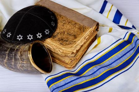 Tallit and Shofar horn jewish religious symbol Prayer Shawl Stock Photo