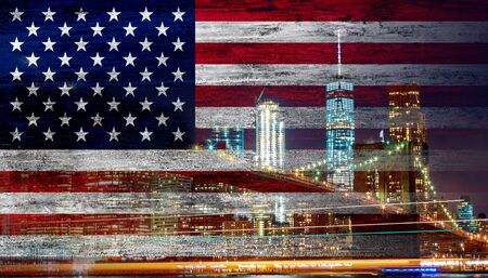 American flag in the wind New York City skyline and Brooklyn Bridge