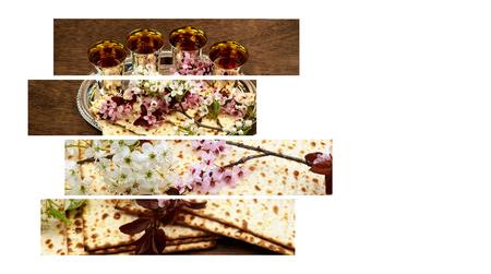 Concept de célébration de Pesah vacances de printemps juif de la Pâque, avec texte en hébreu: Pâque Haggadah