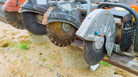 This diamond saw blade used on a concrete cutting machine has sharp teeth which makes clean cuts in concrete. It uses abrasive action to slice through concrete