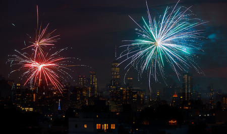 Fireworks over Manhattan, New York City. celebrating USA Independence Day