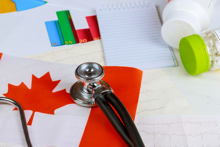 National Canadian flag on stethoscope conceptual series Canada Stock fotó
