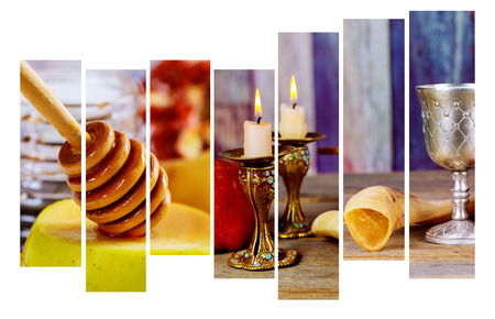 Jewish Holiday Rosh hashanah jewish New Year holiday concept. Traditional symbols Selective soft focus