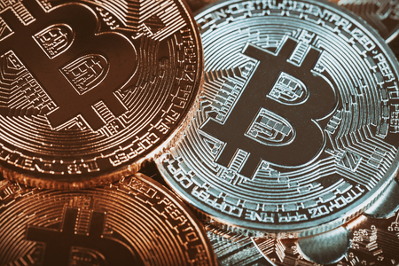 Golden Bitcoins cryptocurrency coins New virtual money.