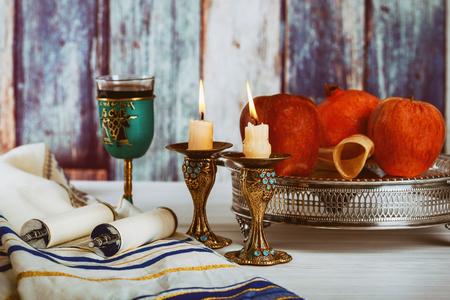 Jewish Holiday Rosh hashanah jewish New Year holiday concept. Traditional symbols Selective soft focus