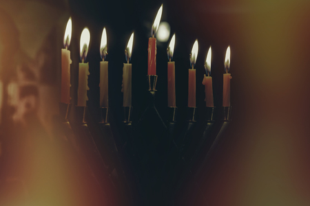 Close up of a hanukkiah with candles at night Chanukah Menorah Chanukiah
