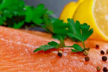 Salmon and lemon raw piece of with ingredients on marble on table