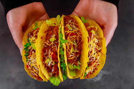 healthy vegan jackfruit tacos vegetable in restaurant Stock Photo