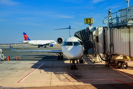 FEB 14, 2019 JFK NEW YORK, USA: Aircraft ready for boarding DELTA aircraft at the John F. Kennedy International Airport The plane is preparing to fly Editorial