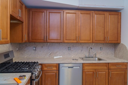 Custom kitchen in various of installation base cabinets kitchen remodel 写真素材