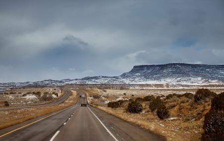 Winter Snow covers the winter landscape desert of Tucson, Arizona Banco de Imagens