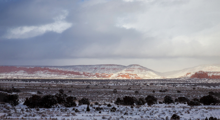 Mountains panorama with sky sun on the desert winter, New Mexico