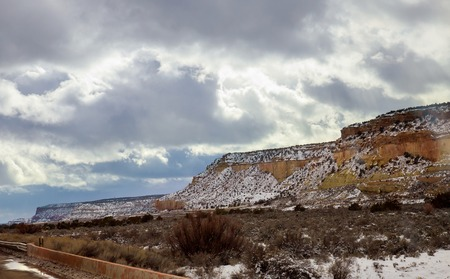 Snowy panoramic view at the sky in the mountains of road to the rockies New Mexico.