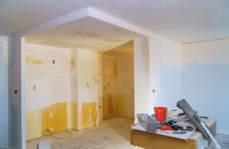 Process for under construction, remodeling, renovation, extension restoration and reconstruction door and molding Stock Photo