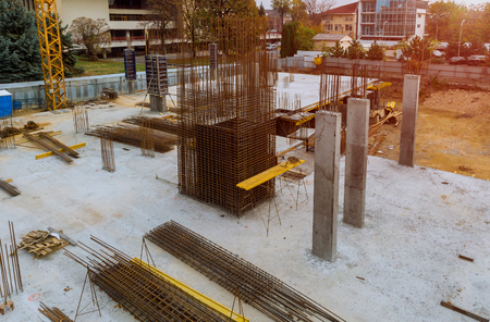 Foundation for new construction of apartment house a new building with cement and reinforcements