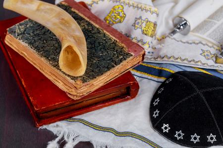 Jewish religion holiday with talith and kippa Stock Photo