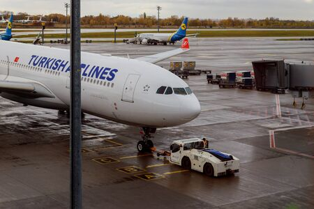 10 March 2019 Kyiv Boryspil International Airport. Turkish Airlines jet liner aircraft at waiting for departure at international airport