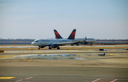 FEB 14, 2019 JFK NEW YORK, USA: Delta airline jetliner aircraft up at apron waiting for departure at JFK international airport