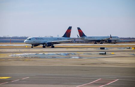 FEB 14, 2019 JFK NEW YORK, USA: DELTA aircraft at the John F. Kennedy International Airport. It is the busiest international air passenger gateway in the United States Editorial
