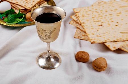 Pesach Passover symbols of great Jewish holiday. Traditional matzoh Stock Photo