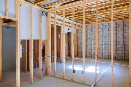 New under construction home framing unfinished wood frame building of a basement residential Stock fotó