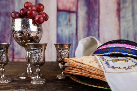 Jewish passover holiday pesah celebration matzah bread with kosher wine